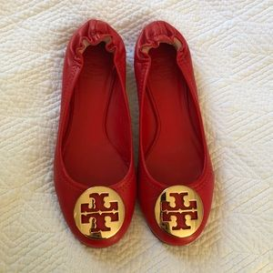 Red Tory Burch Reva Flats with Gold Buckle Size 6